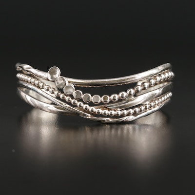 Sterling Silver Crossover Cuff Bracelet