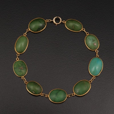 Circa 1910 Black Starr & Frost 14K Yellow Gold Turquoise Bracelet