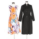 J. Peterman Black Storm Flap Raincoat and Floral Print A-line Sleeveless Dress