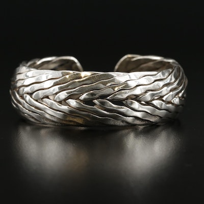 Mexican Sterling Silver Braided Cuff Bracelet