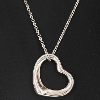"Elsa Peretti for Tiffany & Co. ""Open Heart"" Sterling Silver Pendant Necklace"
