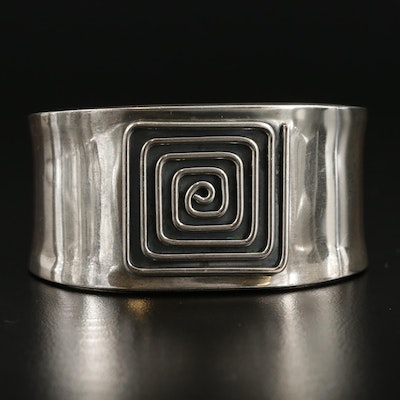 Mexican Sterling Silver Square Cuff Bracelet