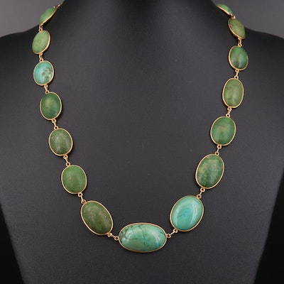 Circa 1910 Black Starr & Frost 14K Yellow Gold Turquoise Oval Link Necklace
