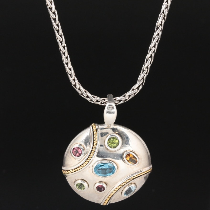 EFFY Sterling Necklace with Pink Tourmaline, Blue Topaz, Peridot and Citrine