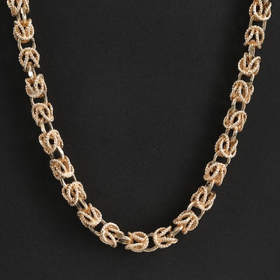 14K Yellow Gold Byzantine Link Necklace