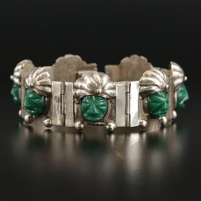 Mexican Sterling Silver Carved Chalcedony Panel Bracelet