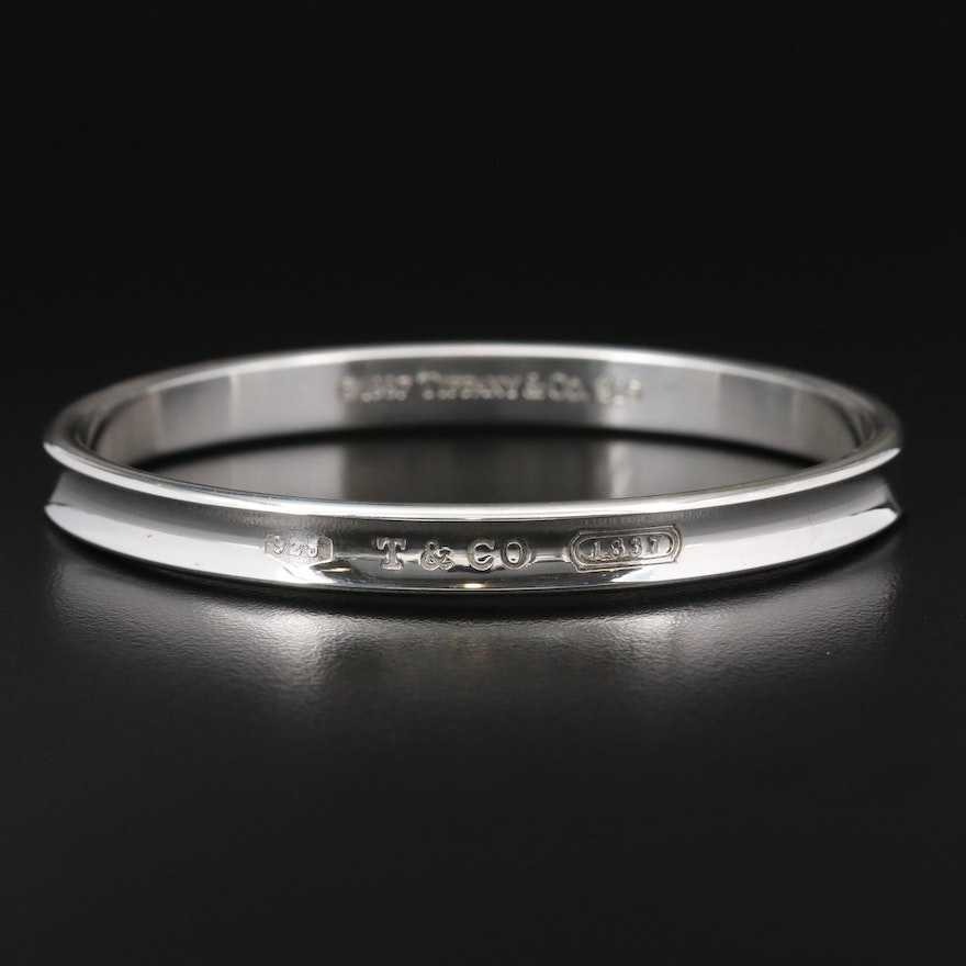 "Tiffany & Co. ""1837"" Sterling Silver Oval Bangle Braclet"