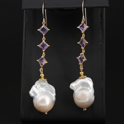 Sterling Silver Baroque Pearl and Amethyst Dangle Earrings