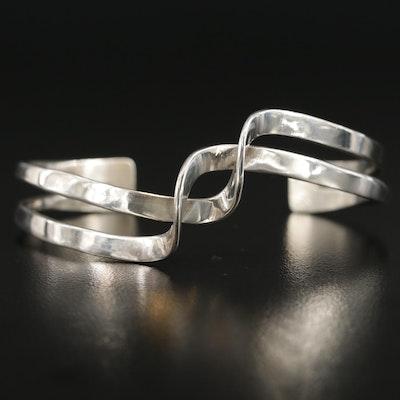 Signed Southwestern Sterling Silver Twisted Cuff Bracelet