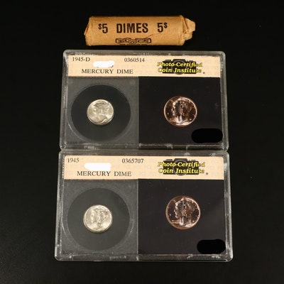Roll of 48 Mercury Silver Dimes and Two Uncirculated Mercury Silver Dimes