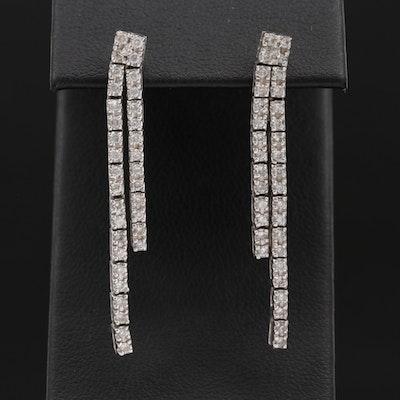 14K White Gold 1.02 CTW Diamond Dangle Earrings