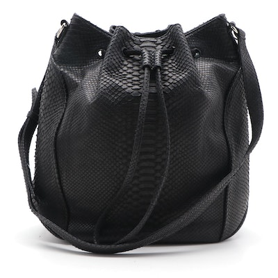 Eileen Kramer Black Python Skin Drawstring Shoulder Bag