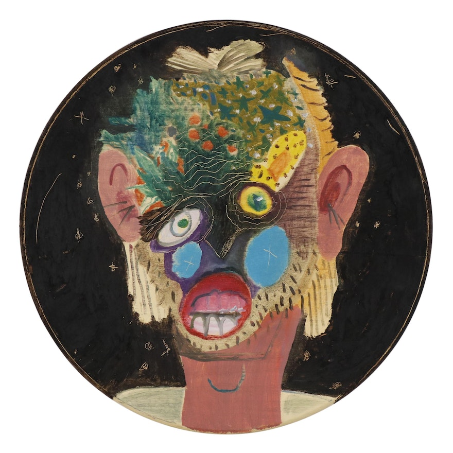 "Philip the Transplant Mixed Media Painting with Tar ""Tropical Mask"""