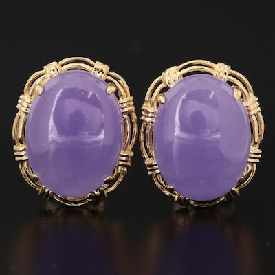 14K Lavender Jadeite Drop Earrings