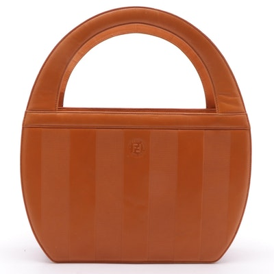 Fendi Pequin Striped Leather Tote with Cut-Out Handles