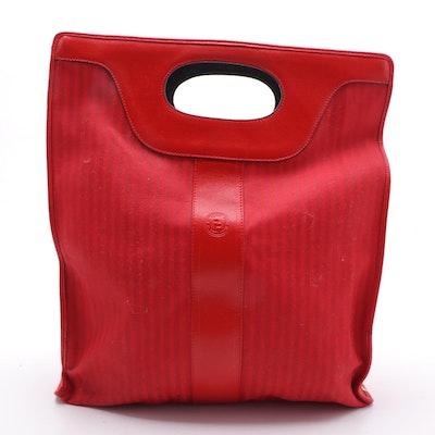 Fendi Pequin Stripe Tote in Red Canvas and Leather