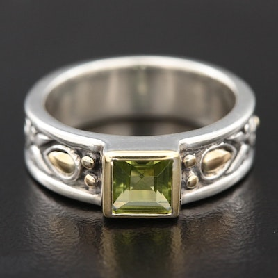 John Hardy Sterling Silver Peridot Ring with 18K Accents
