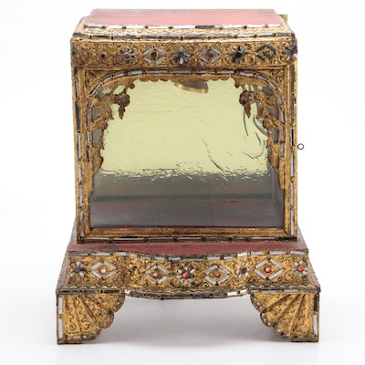 Thai Mandalay-Style Gilt and Glass-Decorated Tabletop Display Case