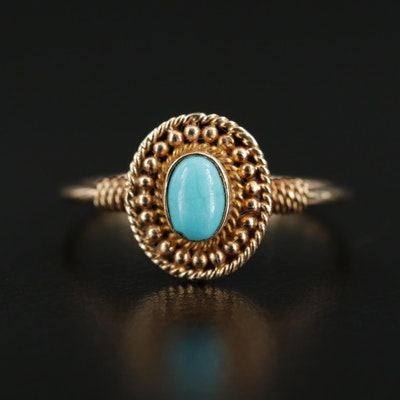 14K Yellow Gold Imitation Turquoise Ring
