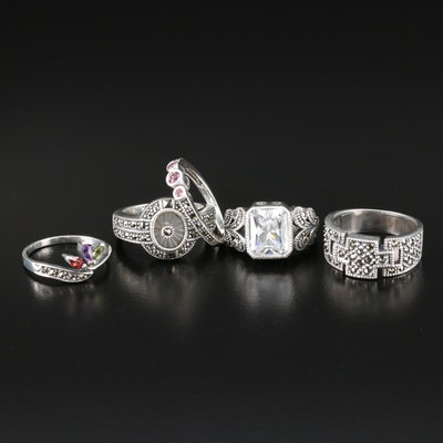 Sterling Gemstone Rings with Cubic Zirconia, Marcasite and Amethyst