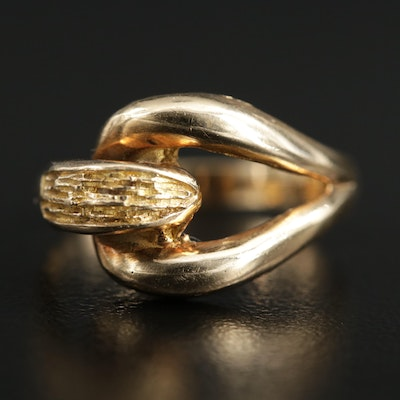 14K Yellow Gold Openwork Ring with Nugget Detailing
