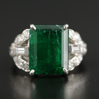 14K Gold 4.30 CT Emerald and Diamond Ring