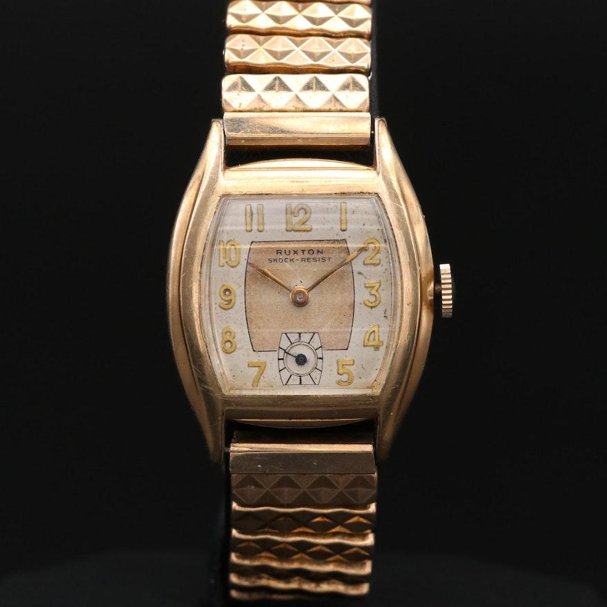 Vintage Ruxton Gold Tone Stem Wind Wristwatch