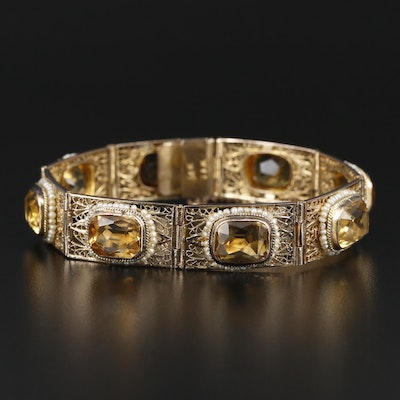 Early 1900s Neo-Renaissance 14K Citrine and Seed Pearl Bracelet