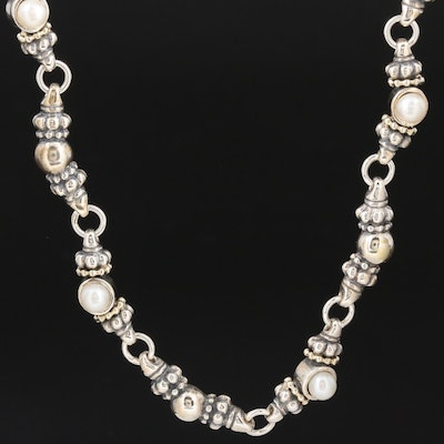 Caviar by Lagos Sterling Pearl Necklace with 18K Gold Accents