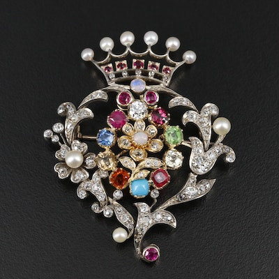 Mid Victorian 14K and Sterling 2.78 CTW Diamond and Gemstone Converter Brooch