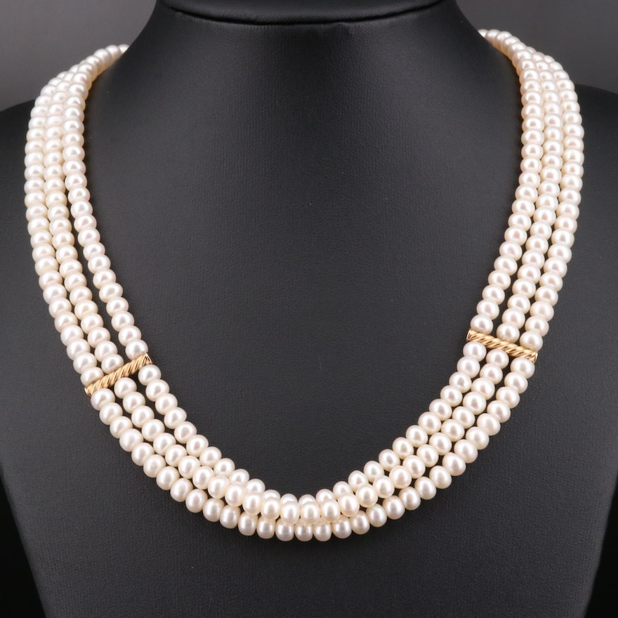 Triple Strand Pearl Necklace with 14K Yellow Gold Findings