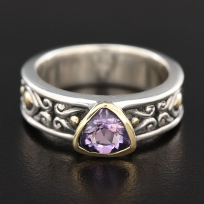 "John Hardy ""Jaisalmer"" Sterling Amethyst Ring with 18K Accents"