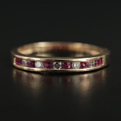 10K Gold Ruby and Diamond Channel Ring