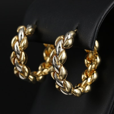 Adriano Chimento 18K Yellow and White Gold Braided Hoop Earrings