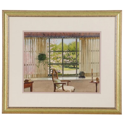 Edmond J. Fitzgerald Watercolor Painting of Interior Scene