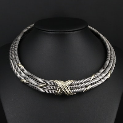 "David Yurman ""X"" Sterling and 14K Gold Triple Cable Necklace"
