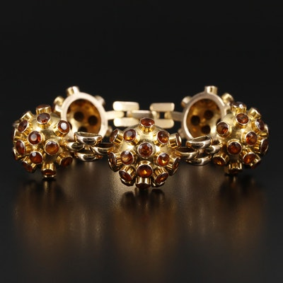 Vintage 14K Gold Citrine Sputnik Link Bracelet