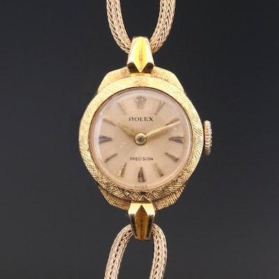 Rolex Precision 18K Gold Stem Wind Wristwatch, Circa 1950