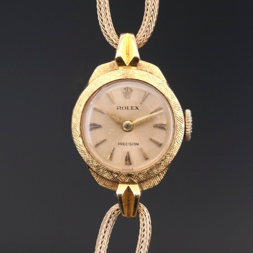 Rolex Precision 18K Gold Stem Wind Wristwatch, Circa 1950