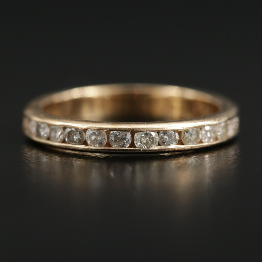 14K Gold Diamond Channel Band