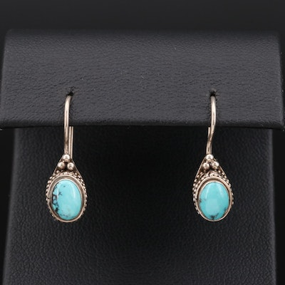 Sterling Silver Turquoise Earrings with Scrolled Accents