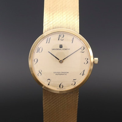 Vintage Universal Geneve Golden Shadow 18K Gold Automatic Wristwatch