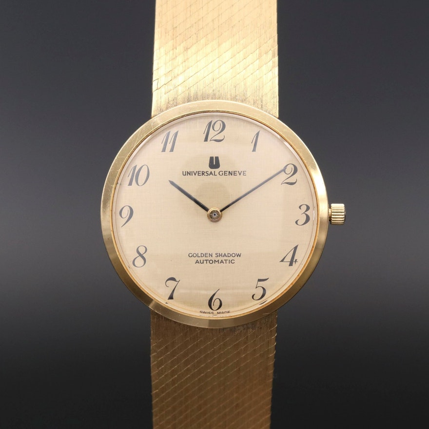 Vintage Universal Geneve Golden Shadow 18K Gold Automatic Wristwatch