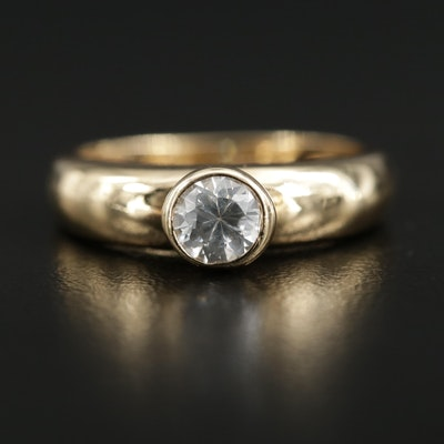 14K Gold Cubic Zirconia Solitaire Ring