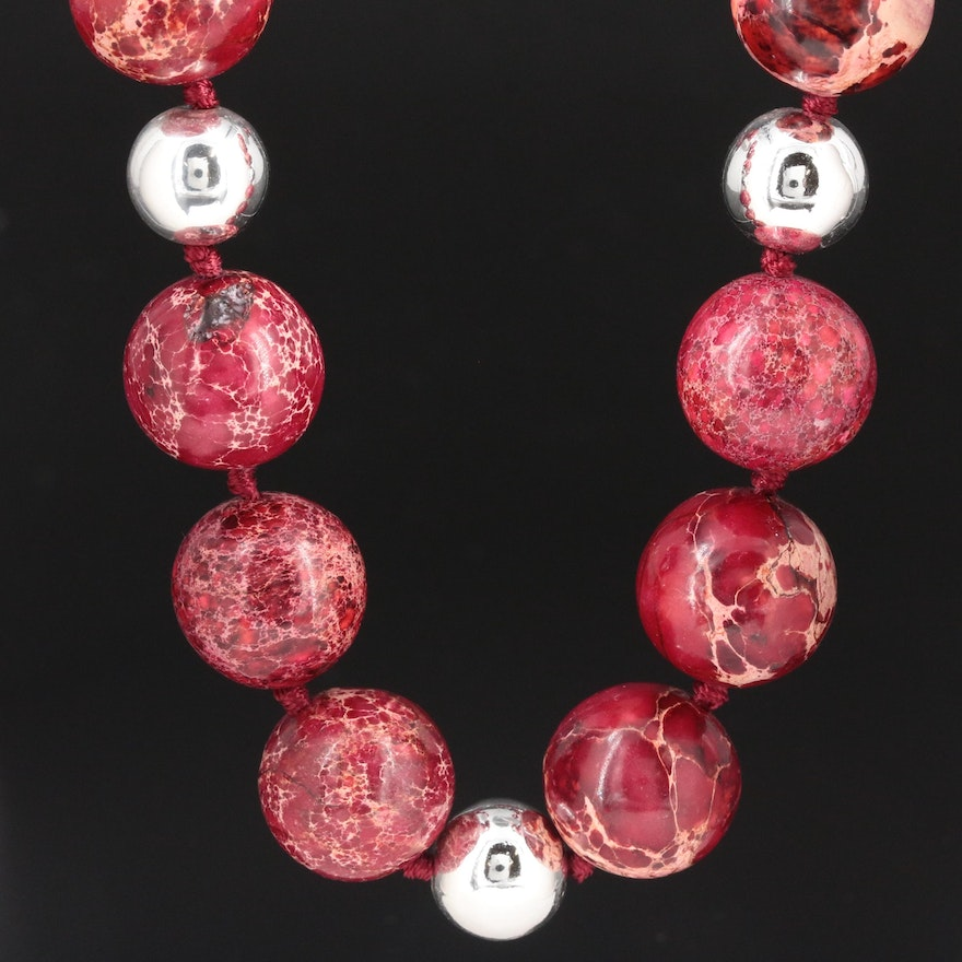 Red Jasper Beaded Adjustable Necklace with Sterling Silver Clasp