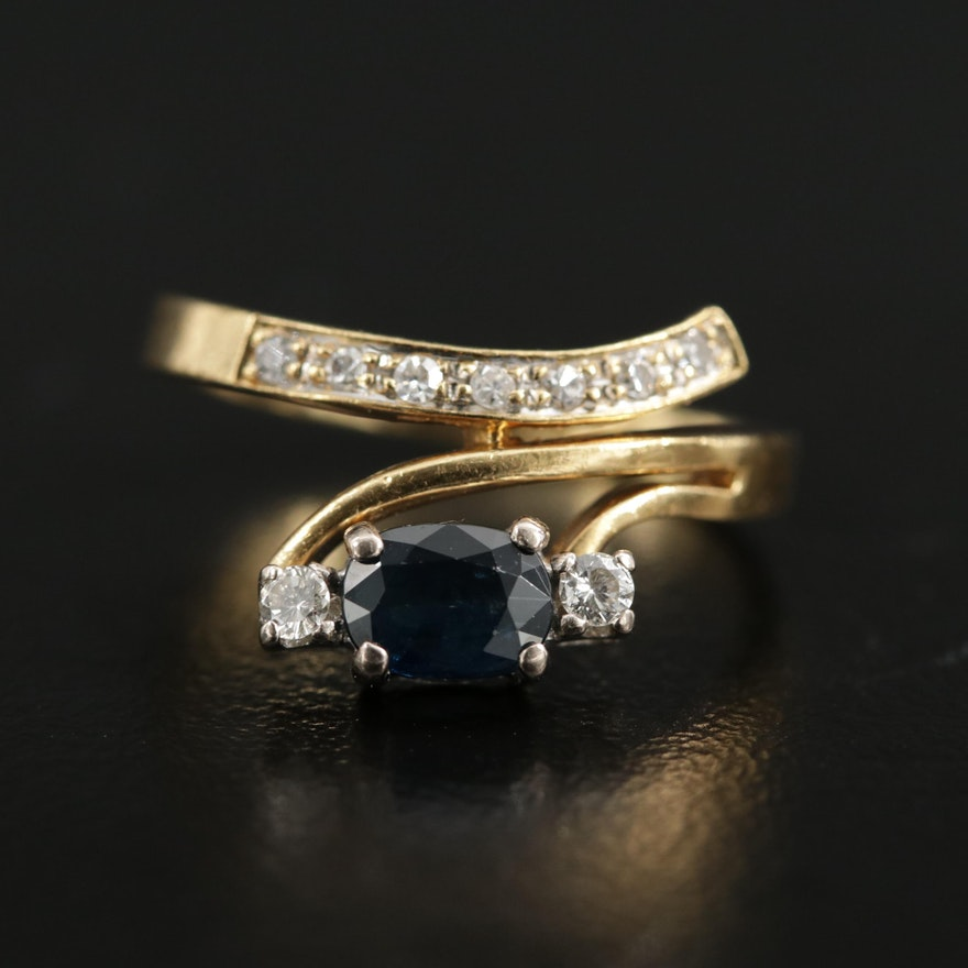 18K Yellow Gold Sapphire and Diamond Bypass Ring