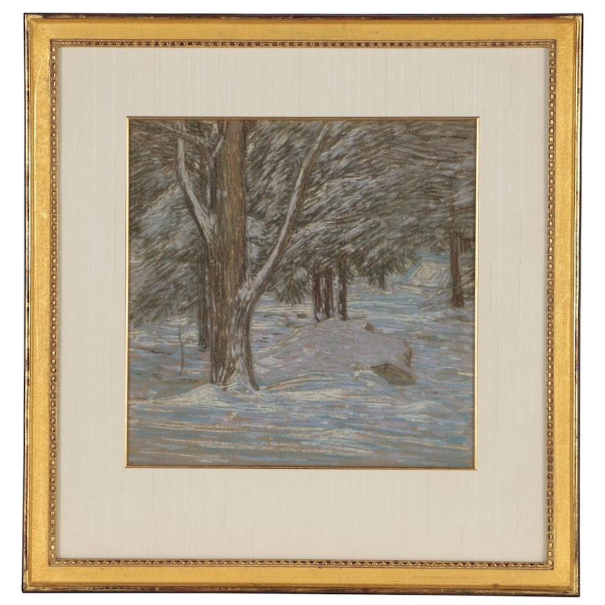 "Charles Kaelin Divisionist Pastel Drawing ""Winter Woods"", Early 20th Century"
