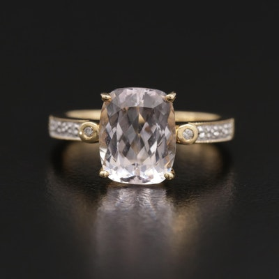 18K Yellow Gold 3.80 CT Kunzite and Diamond Ring