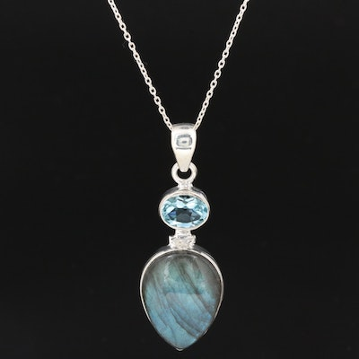Sterling Blue Topaz and Labradorite Pendant Necklace