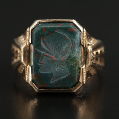 Vintage 10K Gold Bloodstone Intaglio Ring